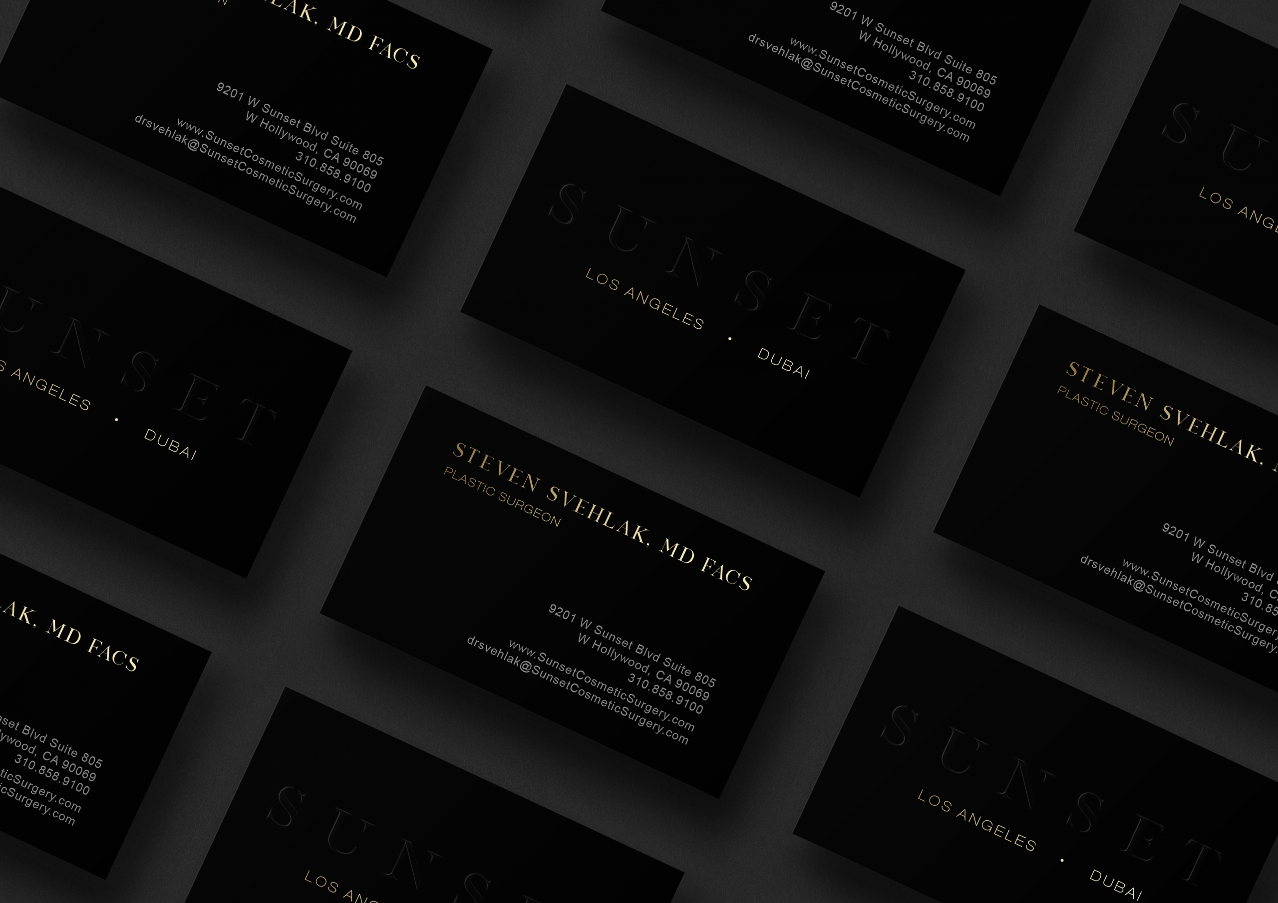 Sunset Cosmetic Surgery Black and Gold Business Cards