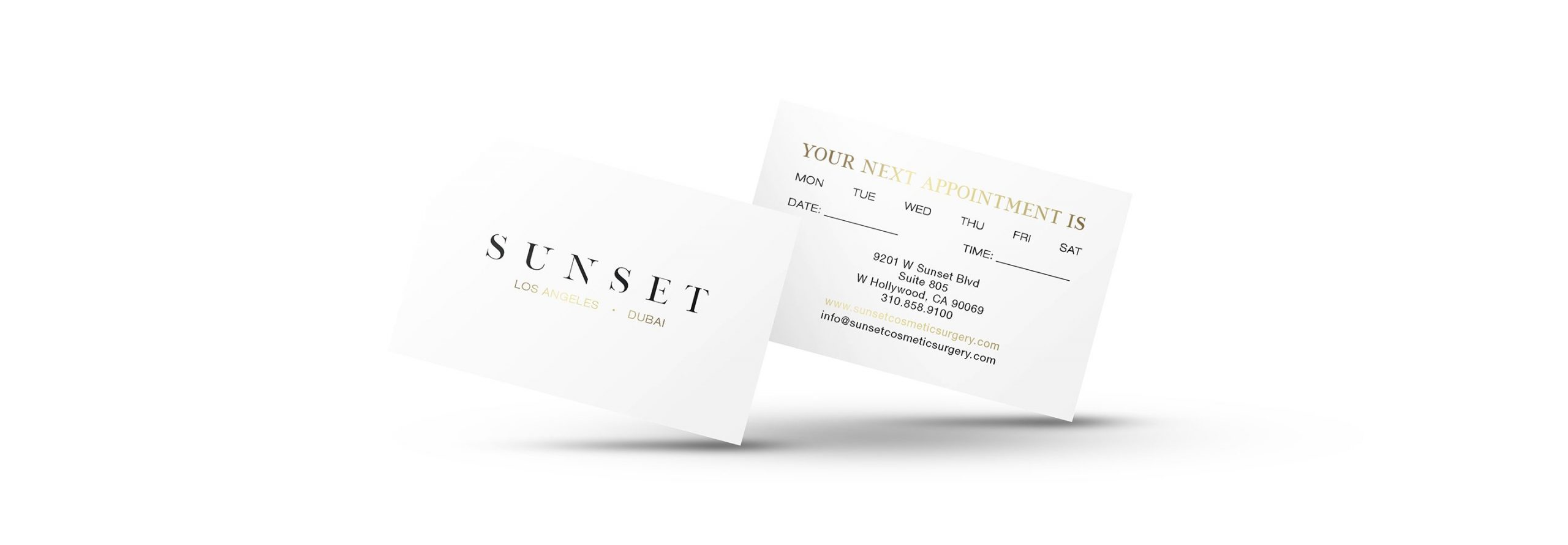 Sunset Cosmetic Surgery Appointment Cards